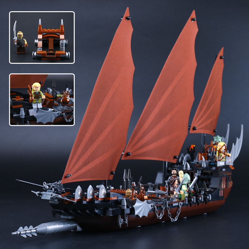 Lepin 16018 Genuine The lord of rings Series The Ghost Pirate Ship Set Building Block Brick Funny Toys 79008  lis new lepin 16018 genuine the lord of rings series the ghost pirate ship set building block brick toys 79008