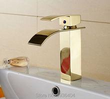 Ванная комната водопад смесители золотой отделкой смесители одно отверстие на бортике раковина кран Torneira Banheiro G1085