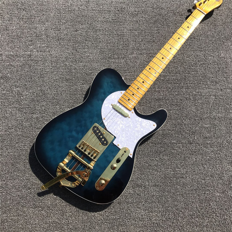 top brand blue electric guitar with solid tele body and the gold jazz bridge in electric guitar. Black Bedroom Furniture Sets. Home Design Ideas