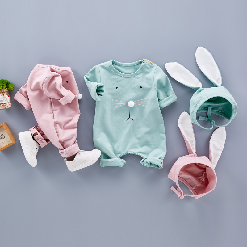 Baby Girl Clothes 2017 Newborn Rompers Long Sleeve Spring Autumn Rabbit Bunny Ear Romper Cotton Infant Jumpsuit with Hat 2pcs autumn winter baby girl rompers striped cute infant jumpsuit ropa long sleeve thicken cotton girl romper hat toddler clothes