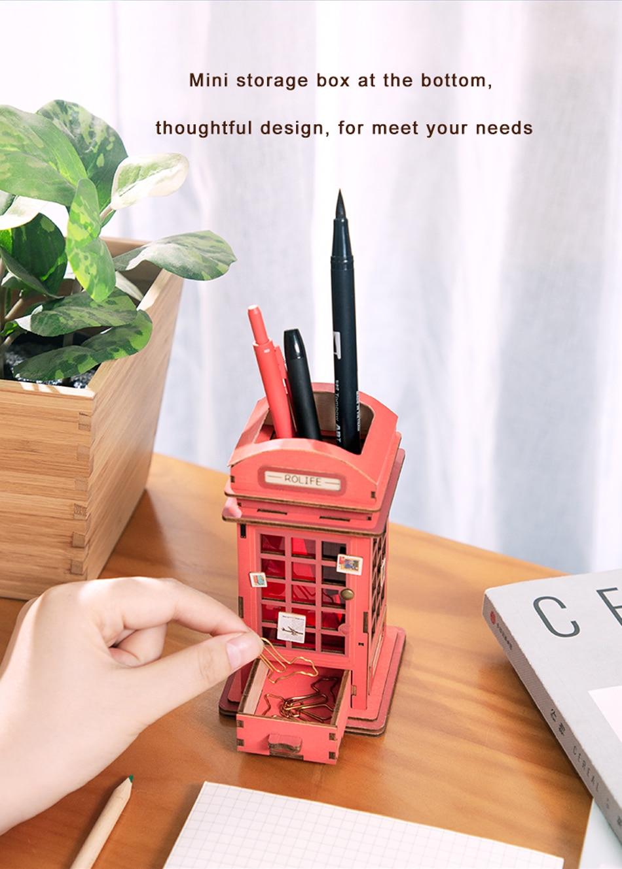 Robotime TG13 Telephone Booth DIY Penholder