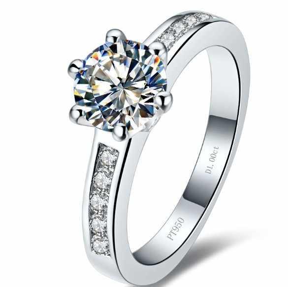 Anillo de compromiso de boda de diamantes sintéticos SONA estilo Halo brillante redondo de 1 quilates con caja de anillo