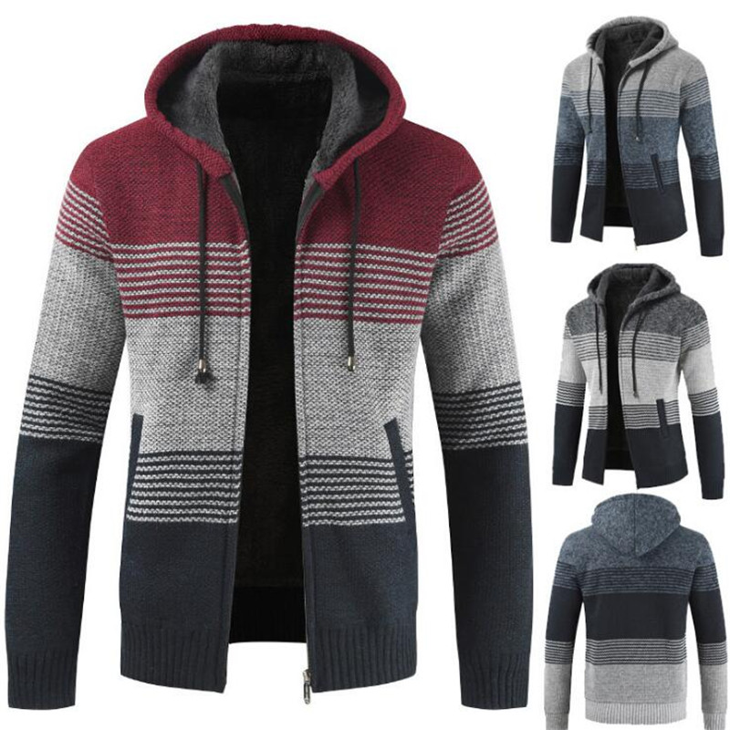 Mens Winter Cardigan Striped Zipper Hoodie Sweater Outwear Tops Blouse Coats Sudaderas Para Hombre Jackets And Casaco Masculino