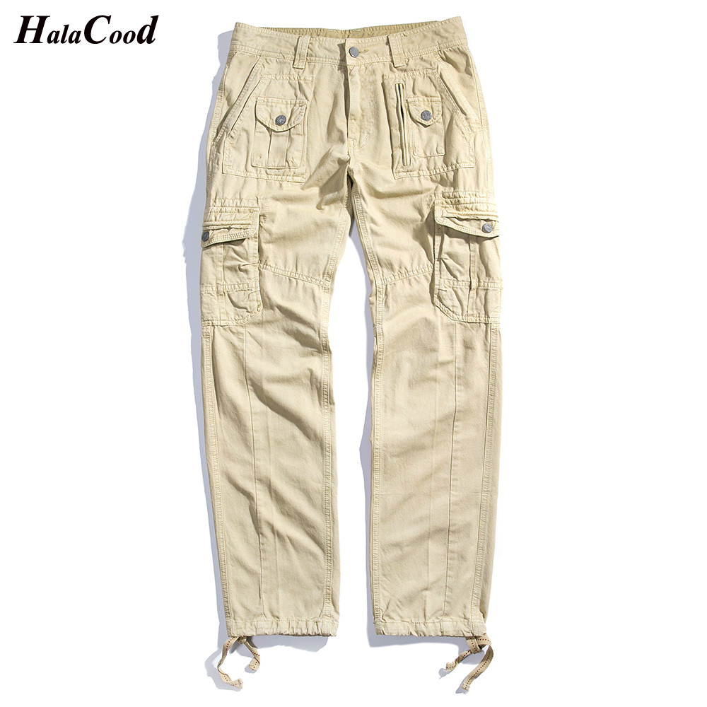 2018 Autumn New Fashion Men Long Pants Millitary Cargo Zipper Pocket Tactical Workwear Trousers Men Casual Style Pant Plus Size
