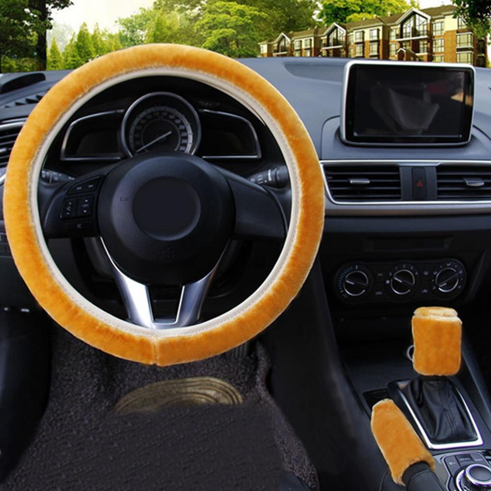 Warm Plush Steering Wheel Cover Winter Furry Fluffy Soft Plush Car Wheel SUP