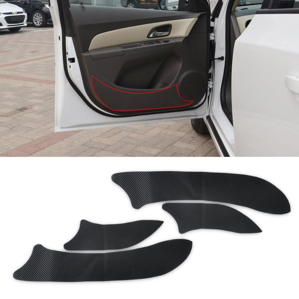 Car carbon sticker design - Carbon Fiber Door Plank Protective Anti Kick Film Sticker For Chevrolet Cruze 2008 2009 2010 2011