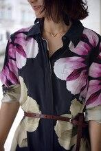 EQ 100% silk flower print elegant women long sleeve long shirt lady silk blouses dress spring autumn