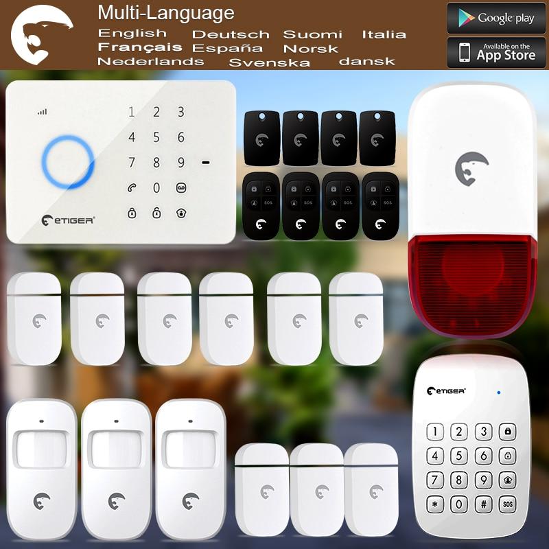Etiger S3B GSM/SMS Burglar Alarm System For Home/Office Wireless Keypad & Strobe Siren as same as Chuango G5 wireless smoke fire detector for wireless for touch keypad panel wifi gsm home security burglar voice alarm system