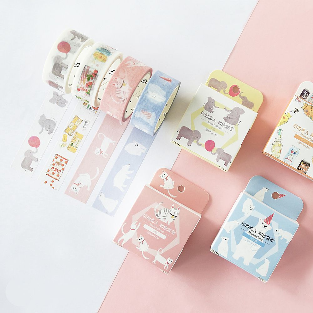How to scrapbook materials - Lovely Life Theme Cute Animals And Buildings Pattern Masking Tapes Set Diy Decoration For Journal Scrapbook Supplies Washi Tape
