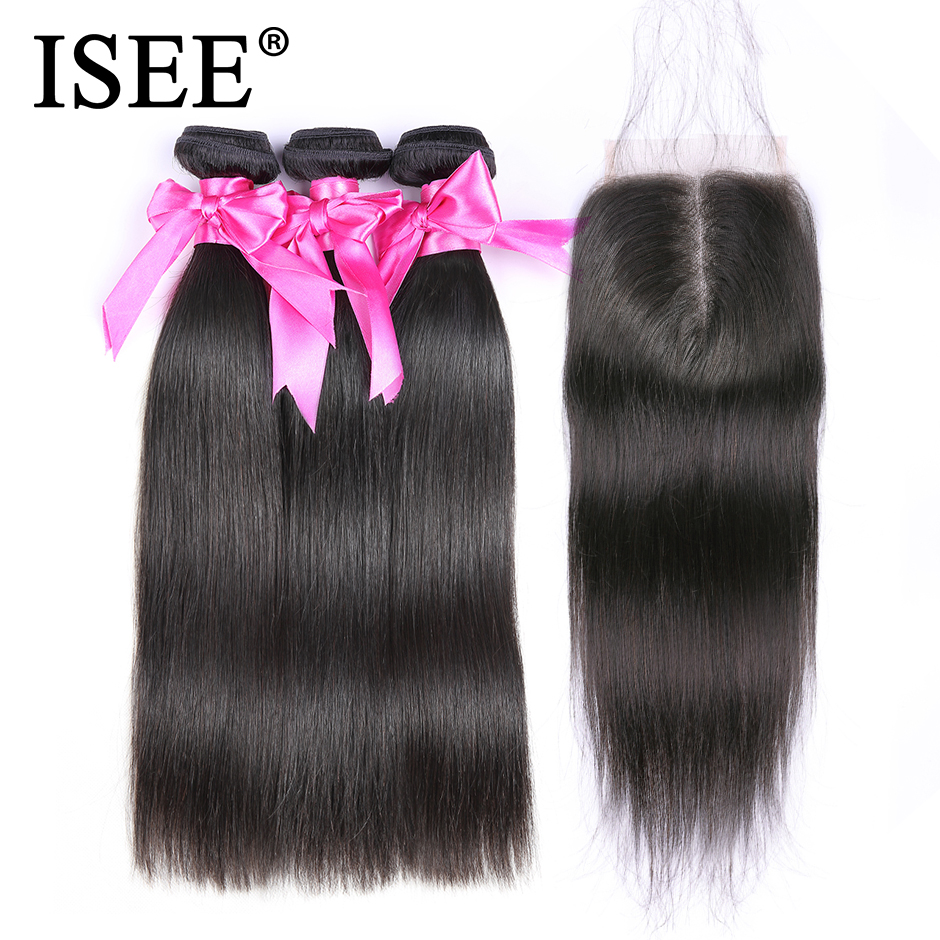 ISEE HAIR Malaysian Straight Hair Bundles With Closure 100% Human Hair Bundles With Closure 3 Bundles Virgin Hair Extensions