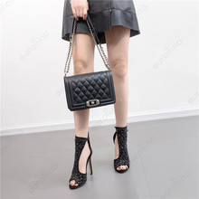 High Heel Sandal Celebrity Gladiator Sequins Fashion Woman Trending Shoes Side Cutout Buckle Straps Hot