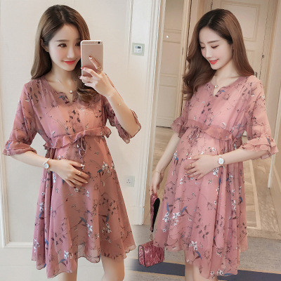 Chiffon Maternity T-Shirts Half Sleeve Loose Blouses Clothes for Pregnant Women Spring Summer Pregnancy Dresses Clothing