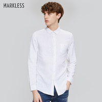 Markless 2018 New Arrival Cotton Linen Casual Shirts Men White Shirt Long Sleeve Male Slim Fit Shirts Style Simple Fashion