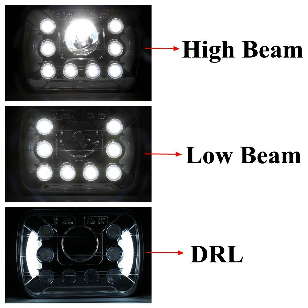 2 stücke 7X6 5X7 55W LED Scheinwerfer Hohe Abblendlicht DRL für Ford E 150 E 250 e 350 Econoline Club Wagon - 5