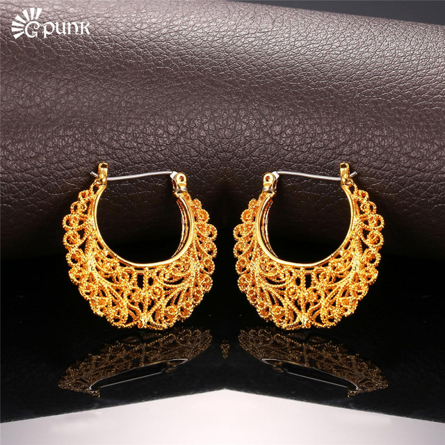 Thick Hoop Earring For Women Aros Gold Filled Circle Earrings Creole Vintage Color Maxi