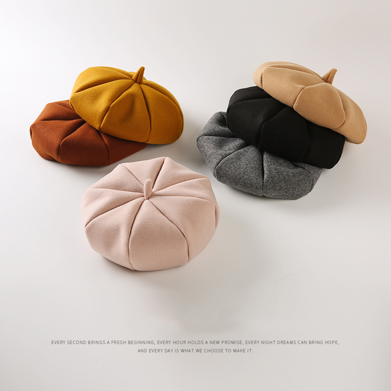 2018 new girl hat children octagonal cover men and women child takes 3-4 years pompom outdoor warm hats beret baby cap baby men male wool blend newsboy beret cap grid blank thick flat cowboy cabbie hat