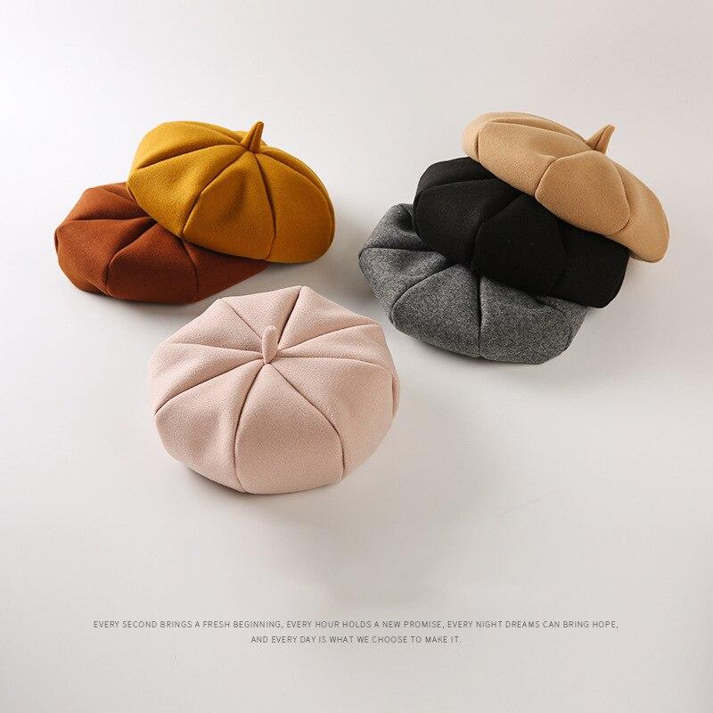 2018 nouvelle fille chapeau enfants couverture octogonale hommes et femmes enfant prend 3-4 ans pompon extérieur chaud chapeaux béret bébé casquette