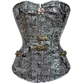 Gothic Corset Waist Trainer Corsets Steel Buckle Bustier Argent Steampunk Clothing Sexy Cincher Bustiers Body Shapers Corselet
