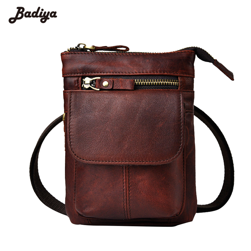 Genuine Leather New Top Quality Retro Mens Bag Shoulder Straps Personality Waist Pack Phone Camera Travel Crossbody Bags