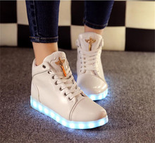 LED Shoes Men Shoes Fashion Lace Up Breathable Glowing Blade Shoes led Flat Casual Brand Luminous Shoes Men Zapatos Hombre Y-8