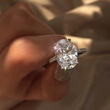 FNIO Luxury Female Crystal White Zircon Stone Ring Fashion S