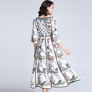 Image 3 - AELESEEN Summer Bohemian Women Long Dresses Luxury Flare Sleeve Runway Fashion 2019 Floral Print Asymmetrical Designer Dress