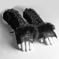 PUNK RAVE Gotik Kadife Parmaksız Eldiven Parmaklar Olmadan Bayanlar Parti Siyah Dantel Tavşan Kürk Kol Isıtıcı Kadın Eldiven 1 Çift