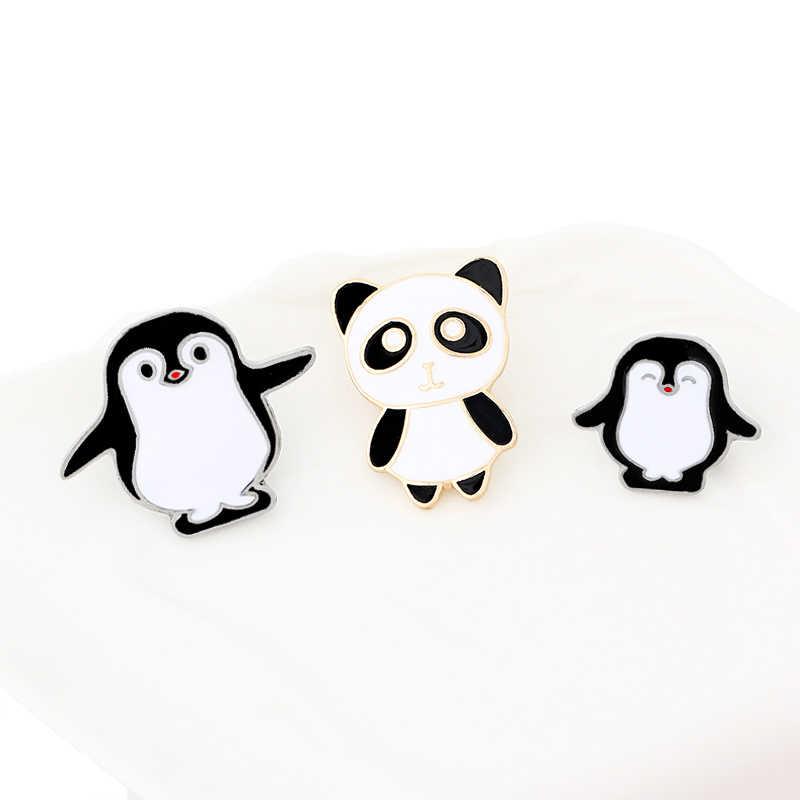Popüler yaratıcı karikatür alaşım yağ damlası broş seti üç panda boyutu penguen klipsi uygun giyim çantaları için