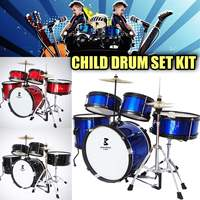 Kids Junior Drum Set 5 Pcs Complete Cymbals Size 16 Inch Black New Drum Musical Instruments Play Learning Educational Toy Gift