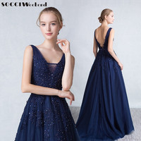 New Arrivval Navy Blue V Neck Appliques Tulle Evening Dress Long Back Less Prom Robe Elegant