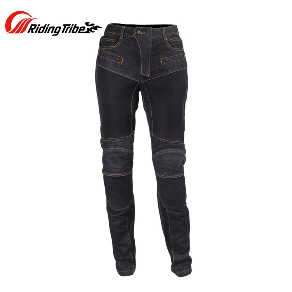 цена на Riding Tribe Summer Motocross Off-Road Racing Denim Pants Men Breathable Mesh Cloth Motorcycle Touring Riding Jeans Trousers