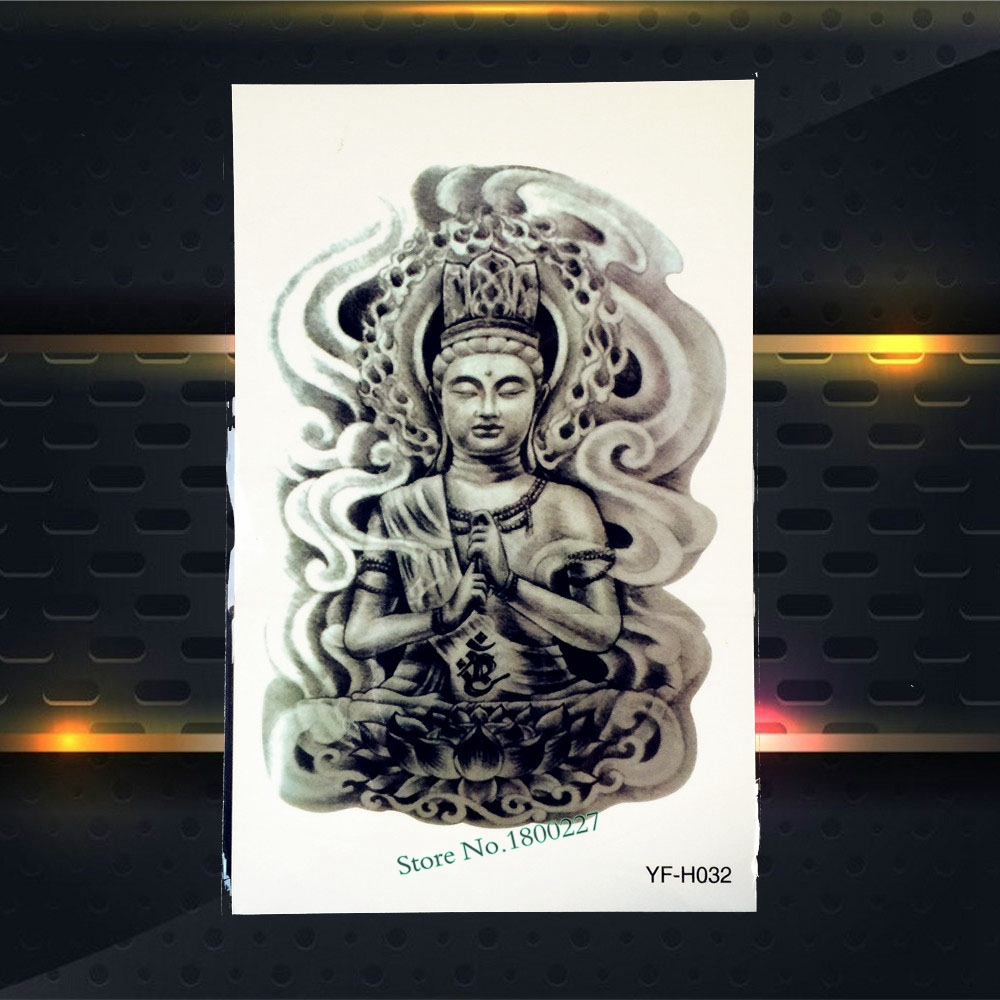 1PC Waterproof Buddha Tattoo Sleeve For Men Women Body Chest Art Temporary Tattoo Buddha Lotus Design Fake Tattoo Sticker PYFH32