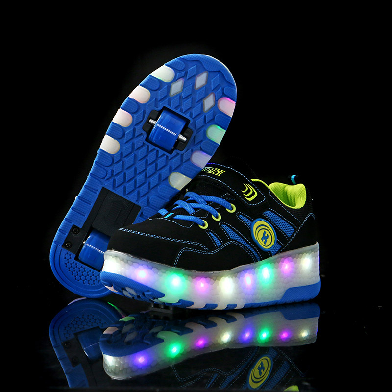 Heelys Children two Wheels Glowing Sneakers Fashion Boys Girls Luminous Led Light Shoes Kids Casual Shoes