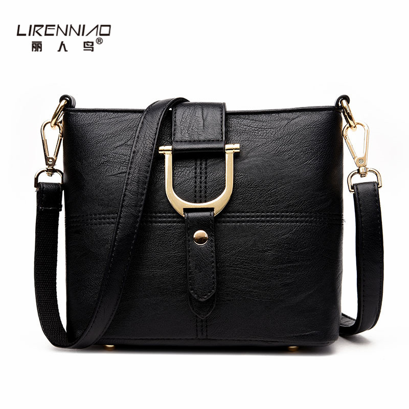 LIRENNIAO Bucket Bags Handbags Women Famous Brands Fashion  Solid Women Pu Leather Messenger Bag Small Black Shoulder Bags 2017 fashion all match retro split leather women bag top grade small shoulder bags multilayer mini chain women messenger bags