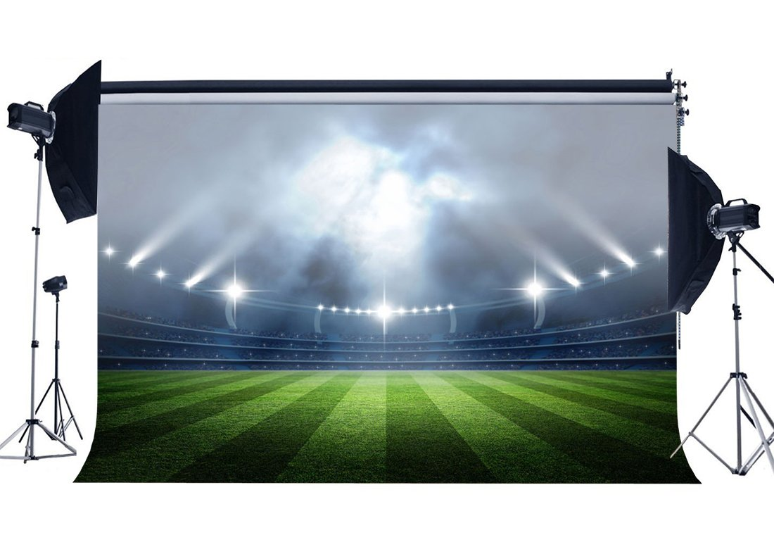 Indoor Stadium Bokeh Stage Lights Football Field Backdrop Green Grass Meadow Sports Photography Background-in Photo Studio Accessories from Consumer Electronics