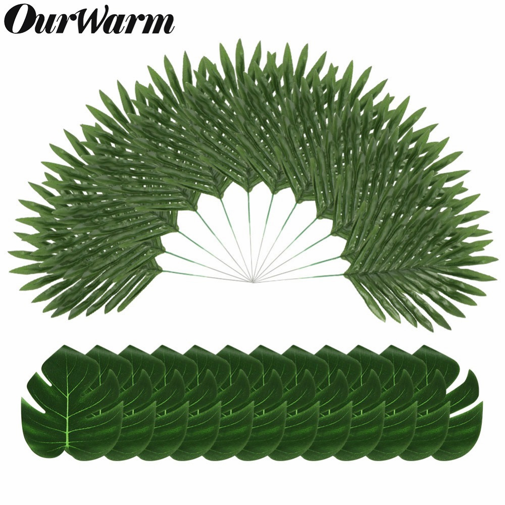 OurWarm 12pcs/pack Artificial Plants Tropical Palm Tree Leaves Home Garden Decoration Accessories Photography Decorative