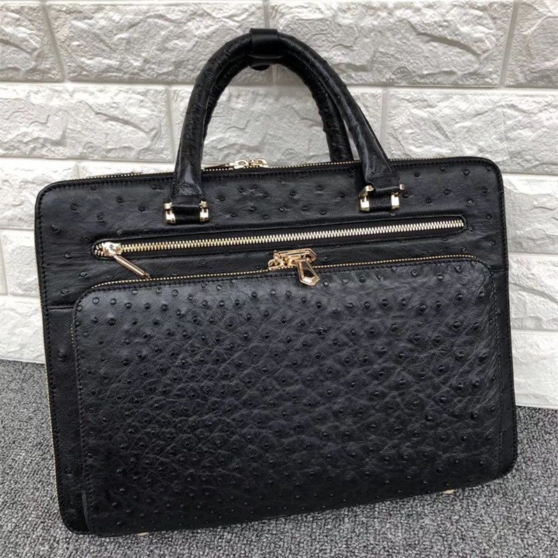 Fancy Genuine Ostrich Skin Zipper Closure Male Briefcase Large Laptop Handbag Authentic Exotic Leather Businessmen Portfolio Bag