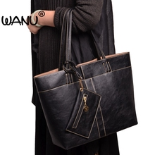 hot deal buy wanu brand women shoulder bags design high quality soft leather fashion crossbody bag woman big totes composite bag----3 bags