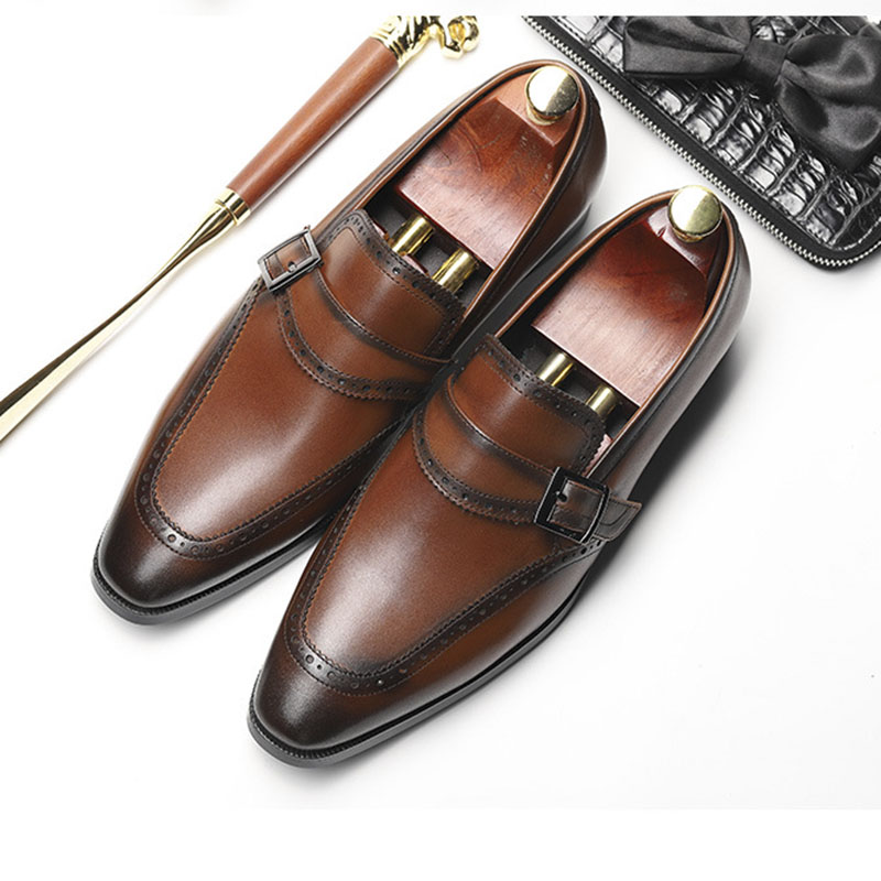 De Hombre Grimentin En Boda Punta Genuino Black Hebilla Deslizantes Cuero Zapatos Vestir Formal brown Diseñador Estilo Negocios Italiano Puntiaguda xFwdH41E