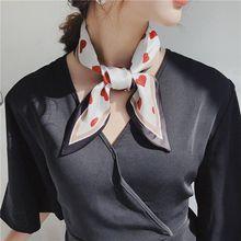Women Vintage Decorative Neckerchief Pointed Tail Contrast Color Heart Print Neck Scarf Imitation Handbag Wrist Ribbon Headban