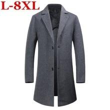 купить!  новый Большой размер 8XL 7XL 6XL 5XL 4XL роскошные шерстяные и бленды мужские длинные куртки осень-з