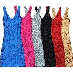 Slim V Neck Vest Sequined Costumes Stage Dance Dress Clothes Sequins Package Hip Dresses Sexy