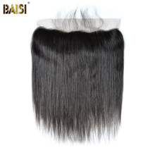 BAISI Peruvian Virgin Hair lace Frontal, Straight Frontal size 13*4, Plucked Natural Hairline(China)