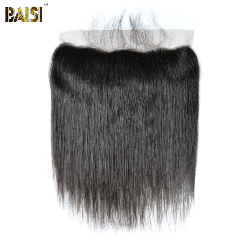 BAISI Peruvian Virgin Hair lace Frontal, Straight Frontal size 13*4, Plucked Natural Hairline