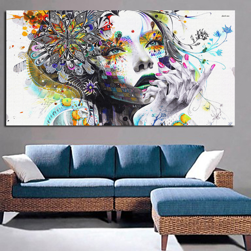 2017 huge wall art girl with flowers oil painting prints for Room decor canvas
