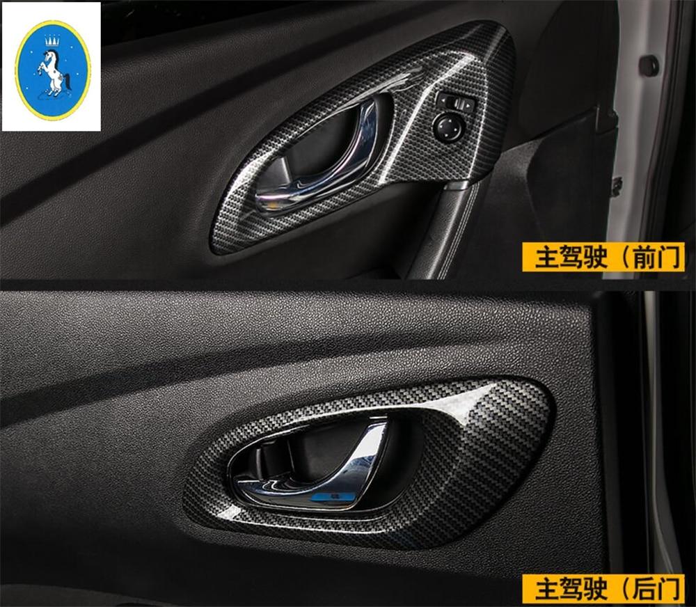 Interior For Renault Kadjar 2016 2017 2018 ABS Inner Door Handle Bowl Cover Trim 4 Pcs / Carbon Fiber Style