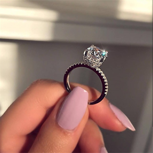 Sparkling Promise ring Real 925 Sterling silver Cubic Zirconia Enagement Wedding Band Rings for women men Finger Jewelry Gift