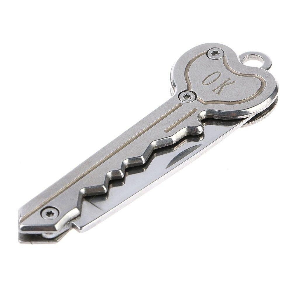 Мини-нож в виде ключа Тактический лагерь Открытый брелок складной открытие Открыватель Карманный Самообороны безопасности многофункциональный инструмент коробка для лезвий - Цвет: Темно-серый