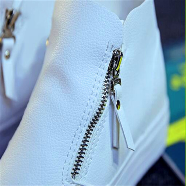 Platform Women Boots 2017 Creepers British Style Ankle Boots Casual Shoes Women's Leather Slip On Flats White Zip Boots Woman 40