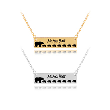 7 cubs mama bear necklace 1-7 baby bear necklaces pendants Mother's Day gift enamel animal jewelry gold silver colors drop ship